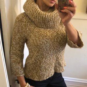 Michael Kors beige multi-color turtleneck sweater